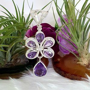 Beautiful Amethyst Flower Drop Pendant