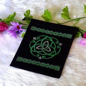 Black and Green Velvet Tarot Bag
