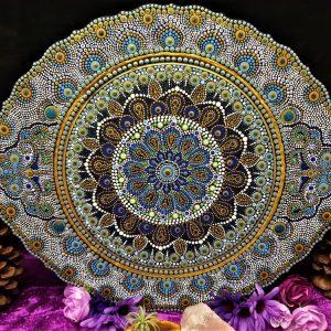 Golden Ocean Pearl Handpainted Mandala