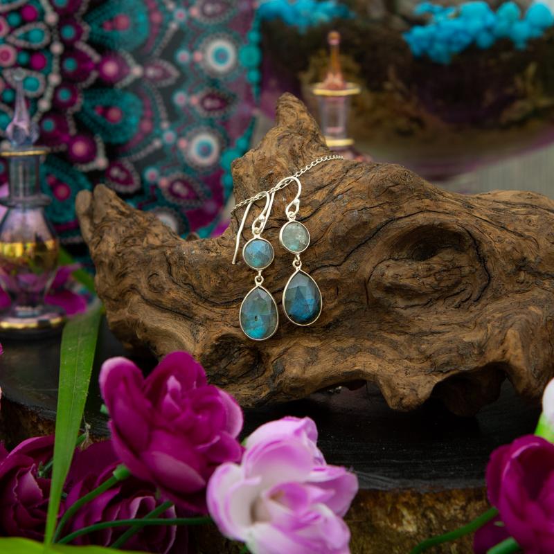 Sterling Silver 2 Tier Labradorite Drop Earrings