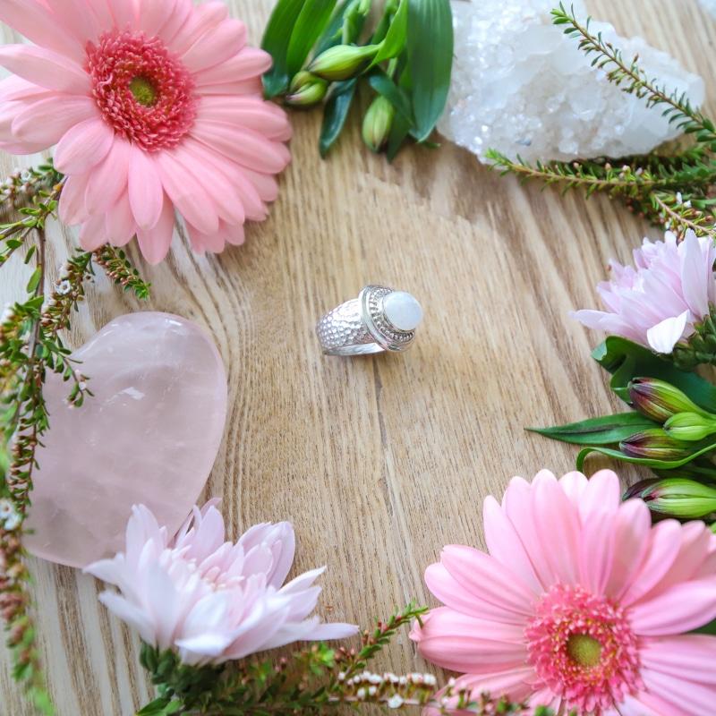 Rainbow Moonstone Beaten Sterling Silver Ring