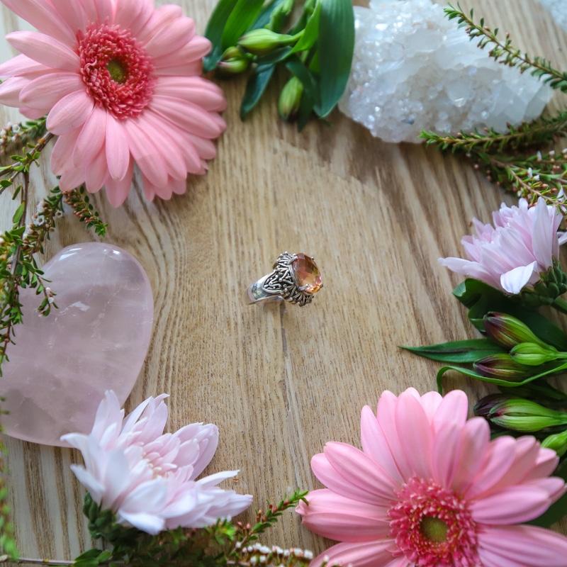 Sterling Silver Orvieto Prism Pink Coated Quartz Ring