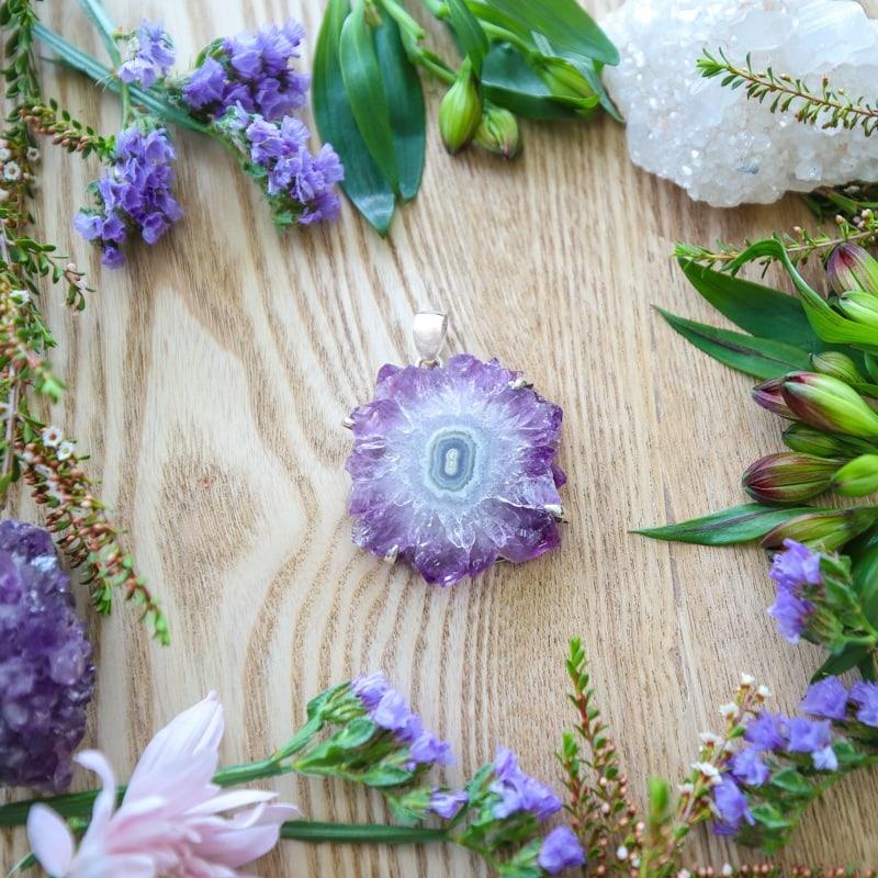 Sterling Silver Amethyst Slice Flower Pendant