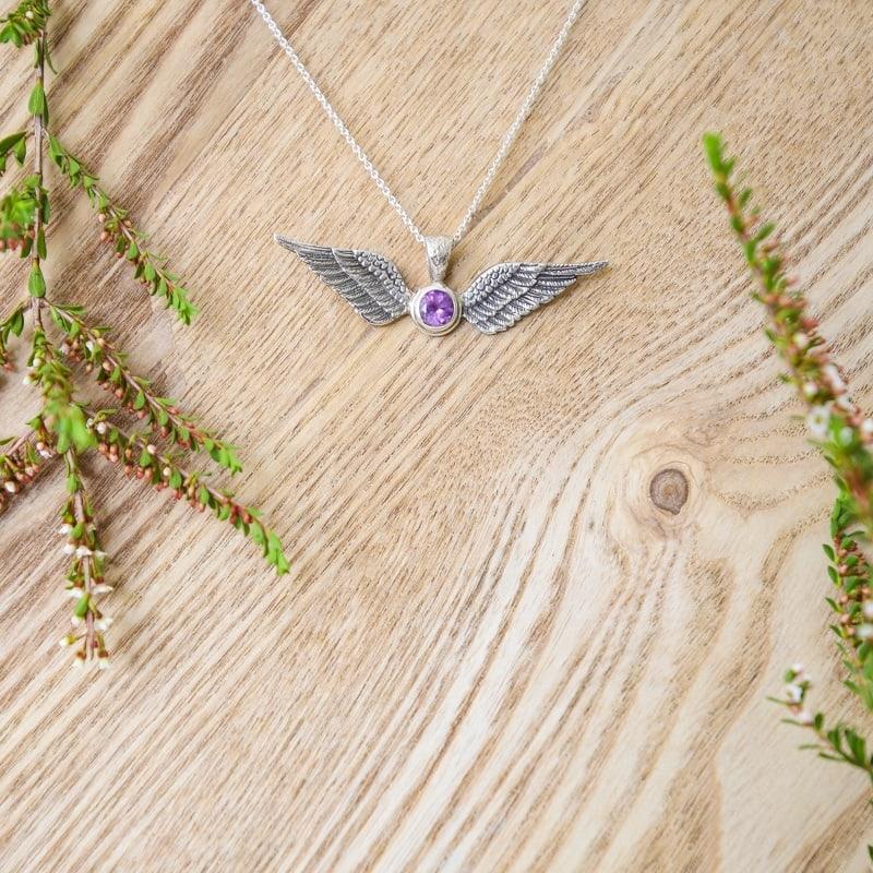 Sterling Silver Amethyst Angel Wings Pendant
