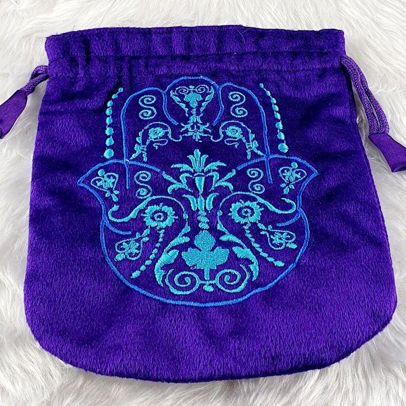 Hand of Fatima Purple Velvet Tarot Bag