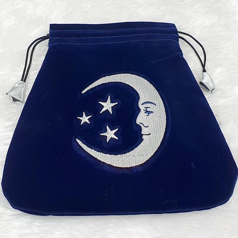 Blue Velvet Smiling Moon Tarot Bag