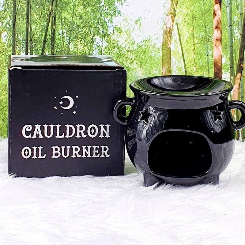 Black Ceramic Cauldron Oil Burner